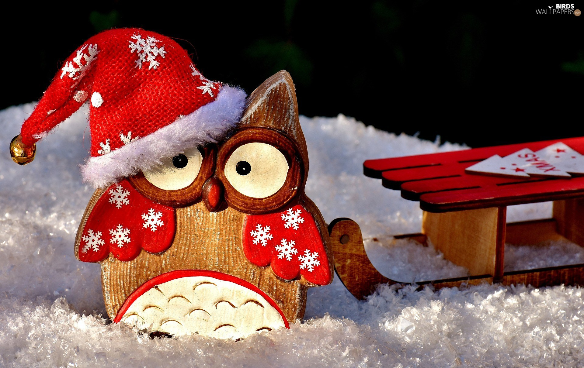 snow, Nicholas, Hat, decoration, sledge, Wooden, owl