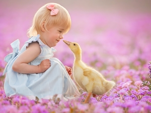 Flowers, Ducky, Meadow, Pink, girl